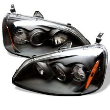 Spyder Projector Headlights - LED Halo - Amber Reflector - Black for 01-03 Civic