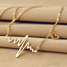 Women Necklace Heartbeat Rhythm with Love Heart Wave Choker Jewelry Gold Plated