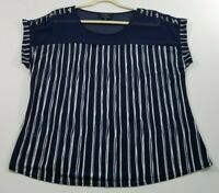 Flower & Feather Women's Short Sleeve Blouse Top 1XL Blue White Stripes Stretch