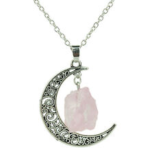Crystal Chakra Moon Pendant Reiki Point Healing Gems Necklace Charm Jewelry Gift