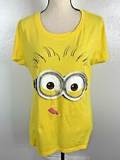 DESPICABLE ME2 WOMEN SIZE 2X YELLOW GRAPHIC MINION TEE TOP 11/31