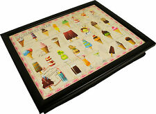 Dessert Lap Tray Bean Bag Cushioned Ice Cream Padded Serving Food TV Bed Dinner