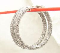 "1 1/4"" Inside Out Pave Set Diamonique CZ Hoop Earrings AntiTarnish 925  Silver"