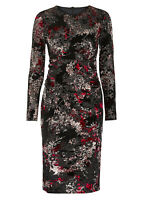 New M&S Black & Red Floral Bodycone Dress Size 6 -18  Velvet Party, X'mas, B'Day