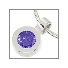 CZ Amethyst In Sterling Silver Round Dangle Pendant European Charm #65412