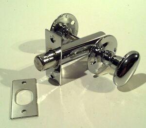 1 x POL CHROME BATHROOM DOOR LOCK BOLT THUMB TURN, Toilet lock