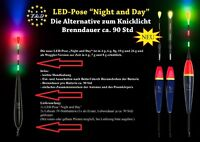 """3x LED Waggler YAD-Pose """"Night and Day"""" 4,6,7,8,16 o.20g.inkl.6x Stabbatterie 3V"""