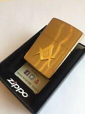 Masonic Zippo Lighter brushed BRASS New Free Masons Master gift Gold plated
