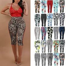 85fd749fc30b8a Womens Ladies 3/4 Length Printed Legging Jeggings Stretchy Pants Skinny  Leggings