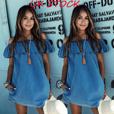 UK Womens Summer Boho Mini Dress Lady Strapless Casual Beach Shorts Sun Dresses