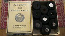 Vintage J&P Coats & Collingsbourne DARNING COTTON 9 Spools  Black 2-Ply