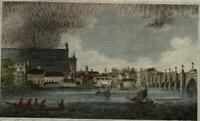 London Thames River view of Westminster c.1810 engraved print hand color