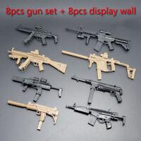 8pcs 1/6 MP5 HK53 UZI MK18 MP7 KRISS VECTOR Military Model Gun Toy+Display Wall