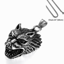 "Retro Viking Wolf Head Stainless Steel Pendant Necklace w 24"" Chain for Men Boys"