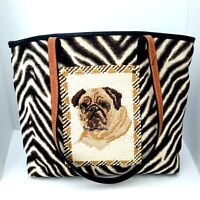 Clever Carriage Company Pug Dog Needlepoint Animal Print Tote Bag Handbag Purse