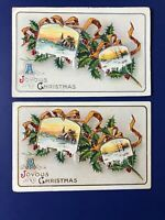 2 Christmas Antique Embossed Gold & Silver Postcards. 1900s. Collector Items.