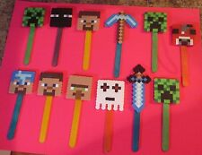 MINECRAFT Inspired BOOK MARKERS Birthday Party Favors Lot 12 Beads Cake Toppers