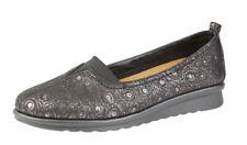 Womens Ladies Wide Fit EEE Elasticated Flat Shoes Pumps Black 3 4 5 6 7 8 9