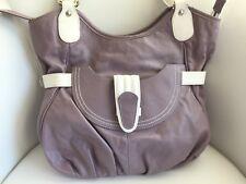 TOSCANI Genuine Leather Purse Purple/White Large Shoulder Tote Bag