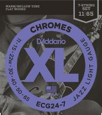 D'Addario Chromes Flat Wound 7-String Electric Guitar Strings, Jazz Light, 11-65