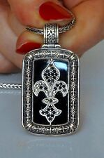 Konstantino Men's Fleur de Lis Pendant Necklace Black Onyx Diamond Sterling New