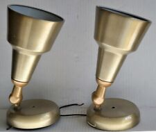 (2) Vintage REMCRAFT CONE LIGHTS Ceiling Wall Sconces Brushed Gold Mid Century