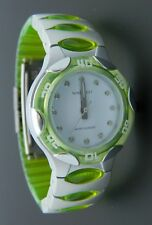 NINE WEST Neon Lime Green Silver Wristwatch Water Resistant Watch