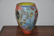 "Wes Hunting  large Art Glass Vase 15"""