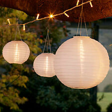 Set of 3 Warm White LED Solar Powered Outdoor Wedding Garden Chinese Lanterns