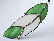 Handmade Stained Glass Bird Feather Suncatcher Green & White Colour Gift UK