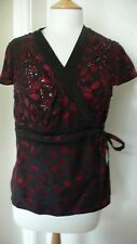 14 Red and Black Bead Sequin Silk Kimono Wrap Short Sleeve Top by Monsoon