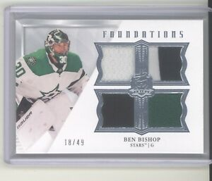 Ben Bishop jersey card /49 2019-20 The Cup Foundations quad 4 swatch Dallas Star