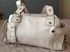 Fossil Soft Leather Tote Shoulder Bag Off White