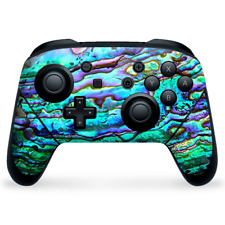 Nintendo Switch Pro Controller Skin Decal Vinyl Wrap - Abalone Green Blue