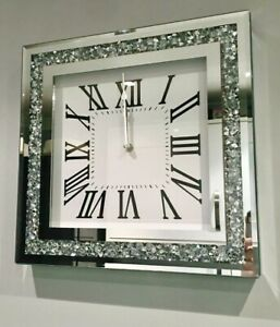 New 34 CM Large Loose Diamonte Crystal Mirrored Glass Square Wall Clock Gift