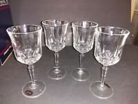 St. George Clear Crystal American Heritage Wine Glasses Goblets Set of 4