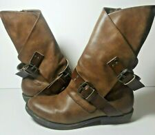 Blowfish Womens Boots Size 8 Brown Belted Buckles Western Leather Booties