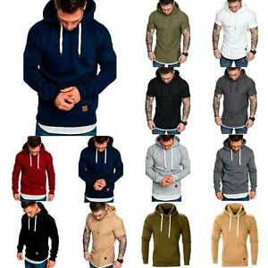 Mens Casual Hoodie Long / Short Sleeve Hooded Pullover Tops Gym Sports Wear