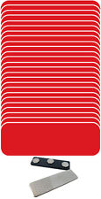 """25 BLANK 1 X 3 RED / WHITE NAME BADGES KIT (U) TAGS 1/4"""" CORNERS MAGNETS LABELS"""