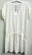 Calvin Klein Ivory Milk Crochet Drawstring Tunic Swimsuit Cover Up Size L/XL NWT