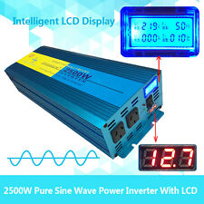 Pure Sine Wave Power Inverter 2500W (5000W Max)12V-240V D Display 1 Year Warrany