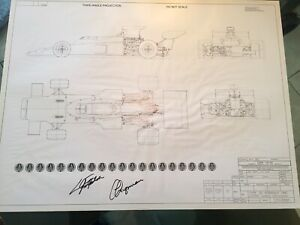 """Emerson Fittipaldi Signed JPS John Player Special Lotus 72 Plan. 31.5"""" X 24"""""""
