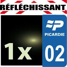 DEPARTEMENT 02 rétro-réfléchissant Plaque Auto 1 sticker autocollant reflectif