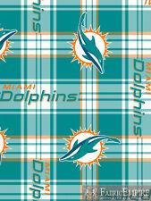 NFL Miami Dolphins Plaid Licensed Fleece Fabric NL-NFL-49-OT