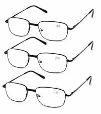 3 Pack Mens Metal Reading Glasses Spring Hinge Rectangle 1.0 1.5 2.0 2.5 3.0 3.5