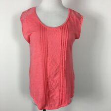 LC Lauren Conrad XS Knit Top Salmon Pink Pintuck Pleats Lace Sleeveless Linen