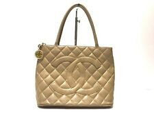 CHANEL Caviar skin tote bag beige used
