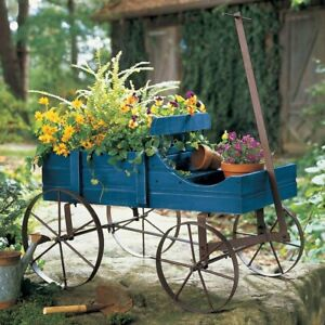 Rustic Blue Wooden Amish Country Wagon Decorative Garden Statue Planter