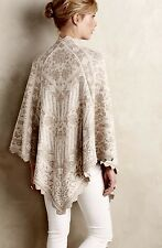 NEW Anthropologie Knitted Knotted ivory tan gold Lace Trim Poncho Knit Wrap OS