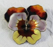 Large David Anderson Sterling Enamel Pansy Flower Pin Brooch Norway